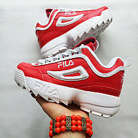 Женские кроссовки в стиле Fila Disruptor 2 Red/White Красные