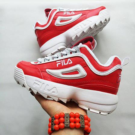 c6bc1db3b97438 Женские кроссовки в стиле Fila Disruptor 2 Red/White Красные, фото 2