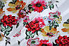 Ткань супер софт, цветы 3Д №13 на белом фоне