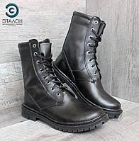 Ботинки тактические берцы кожаные черные DMS-7 демисезонные