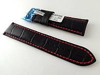Ремешок Hightone, кожаный, с красной строчкой, анти-аллергенный, черный, фото 1