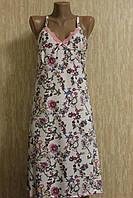 Женская ночная рубашка на узких бретельках бамбук (баттал)  100% хлопок Турция