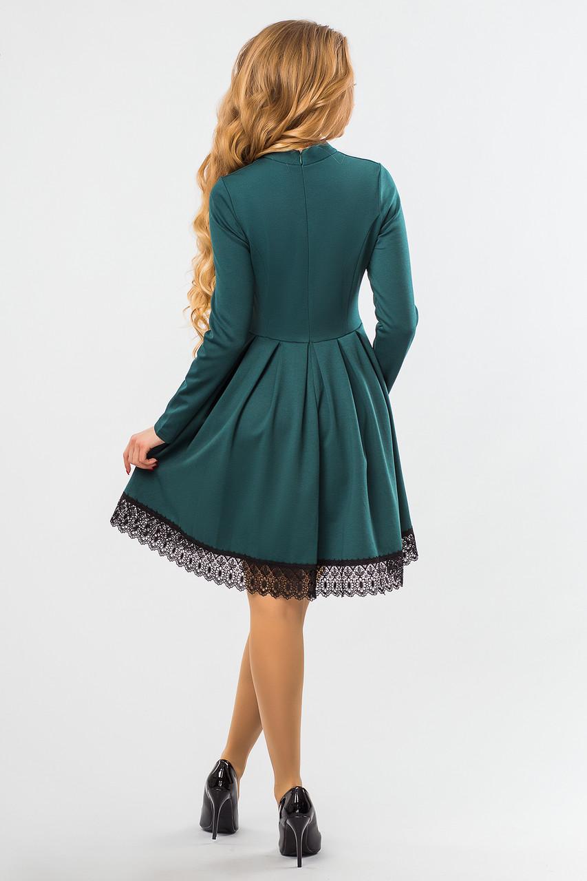 d0c25ed2da446ca Темно-зеленое платье на стойке с кружевом, цена 820 грн., купить в Днепре —  Prom.ua (ID#669945239)