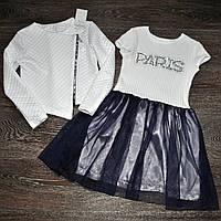 Стильный костюм для девочки (платье и жакет) 146,152
