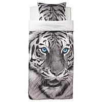 """ИКЕА """"УРСКОГ"""", Комплект постельного белья, серый, с рисунком в виде тигра, 150x200/50x60 см."""