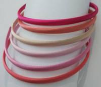 Обруч для волос пластиковый в атласе 8 мм, упаковка 6 шт. в розово-пастельных тонах, фото 1