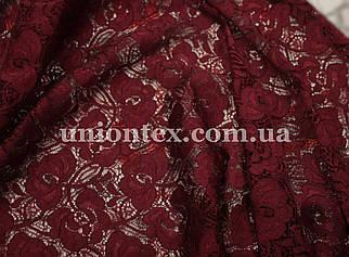 Ткань гипюр стрейчевый розочки бордовый