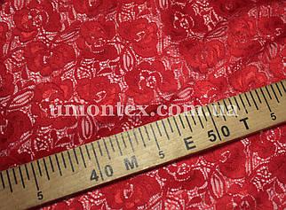 Ткань гипюр стрейчевый розочки красный