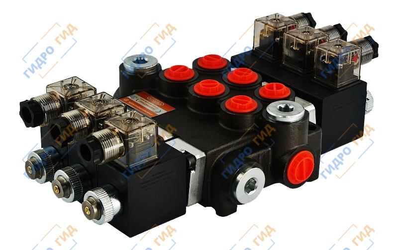 Электромагнитный гидрораспределитель Z50 12/24 В (трехсекционный)