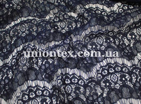 Гипюр стрейчевый реснички темно-синий, фото 2