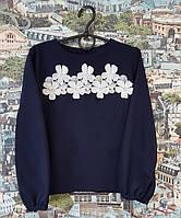 Детская блузка для девочки темно-синяя 122, 128, 134, 140см с белими цветами