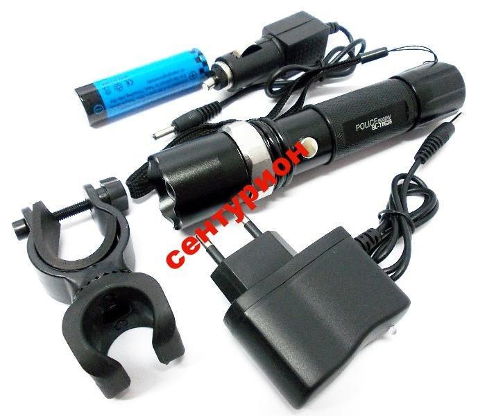 Фонарик тактический POLICE Bailong 8628 99000W велокрепление две зарядки аккумулятор 8800 4