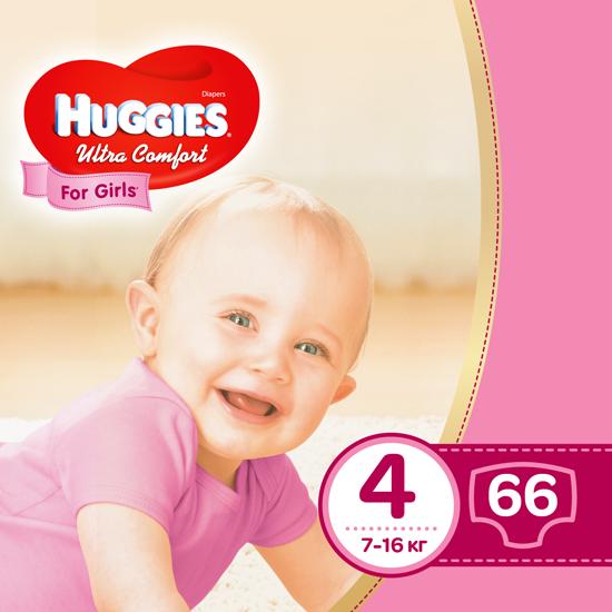 Подгузники Huggies Ultra Comfort для девочек 4 (7-16 кг) Mega Pack 66 шт