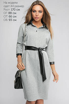 Платье женское с кожаной отделкой Светло-серый +