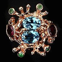 Кольцо ручной работы с Топазами (Swiss Blue), Изумрудами и Гранатами родолитами, эксклюзив /Рубиновая Мечта