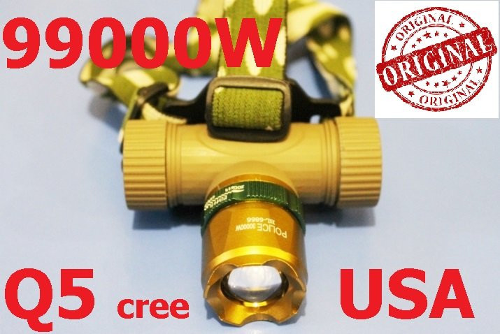 Фонарик налобный Zoom Bailong POLICE BL-6866 99000W + аккумулятор + две зарядки +  адаптер  Оригинал!