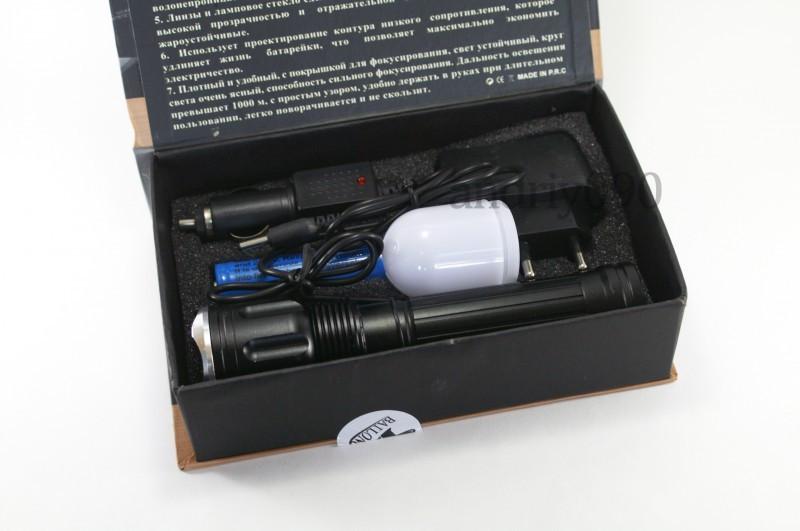 Фонарик тактический  POLICE  BL TS60-901 99000W две зарядки две диффузные  насадки магнит акб цвет серебро