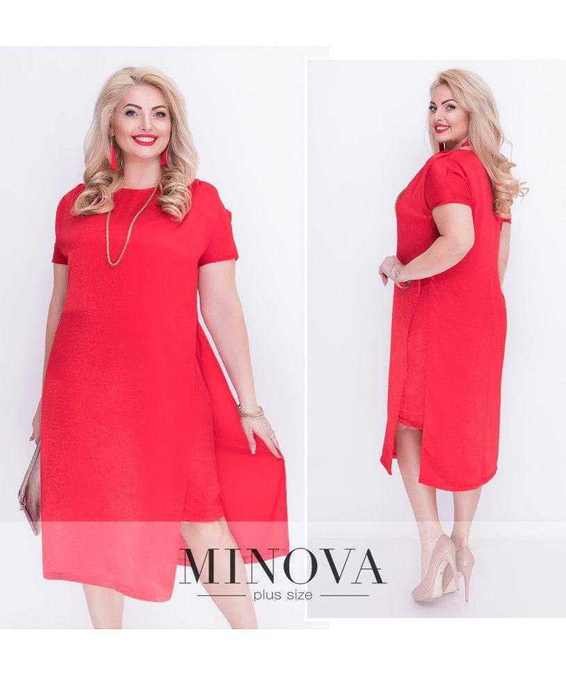 Струящиеся шелковое платье с боковыми разрезами ТМ Minova недорого в Украине  р. 50,52,54,56