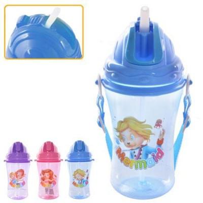 Поильник чашка  детский с трубочкой и ремешком 450мл
