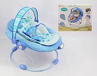 Детский шезлонг-качалка Bambi 60681-82 музыка, вибро, дуга с подвесками, 2 положения