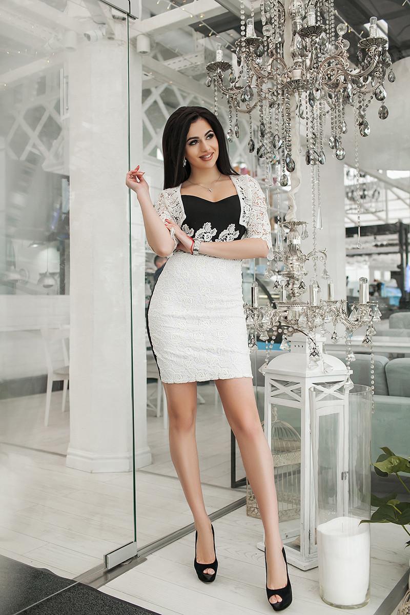 Коктейльное платье с кружевным болеро 3677