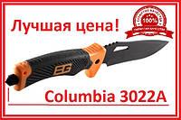 """Нож  для охоты туризма и рыбалки прорезиненная ручка + стеклобой """"Columbia"""" (3022А) Н-90 в чехле 31Х3,8"""