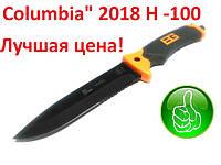 """Нож охотничий тактический фиксированный клинок прорезиненна ручка  """"Columbia"""" (2018) Н -100 + чехол 29,5 х 3,5"""