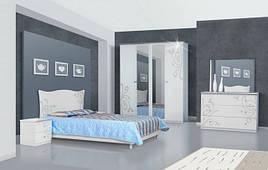Спальня комплект з ДСП/МДФ 4Д (без матрасу та каркаса) Феліція Нова біла Світ Меблів