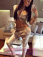 Женский велюровый костюм с короткой кофтой, в расцветках, фото 1