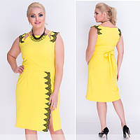 Желтое платье с кружевом 50,52,54