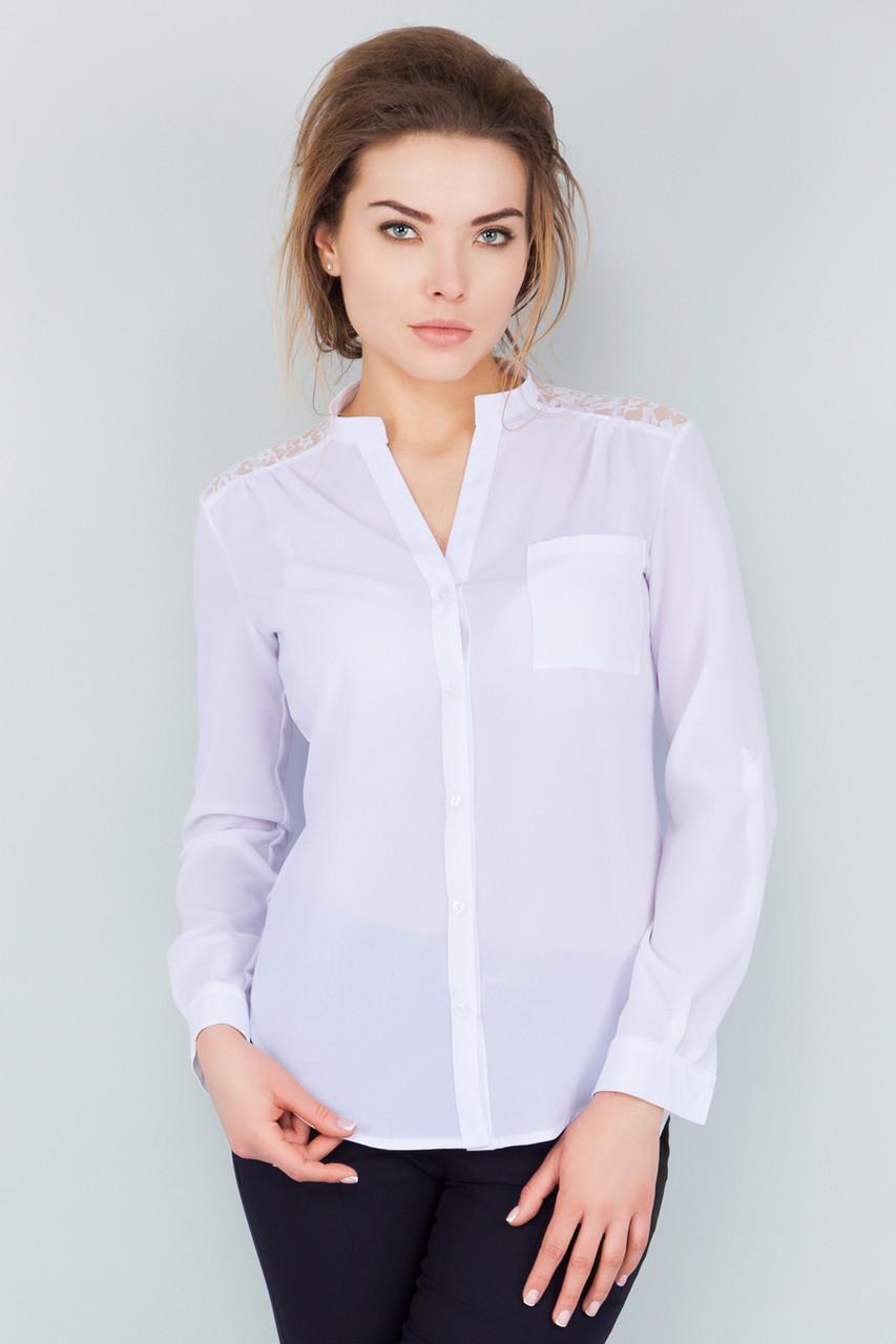 0911ed690ee Белая шифоновая рубашка с гипюром - Интернет-магазин