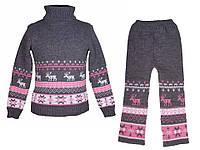 """Теплый шерстяной костюм """"Олени"""" (свитер + брючки), для девочки, цвет серый с розовым,"""