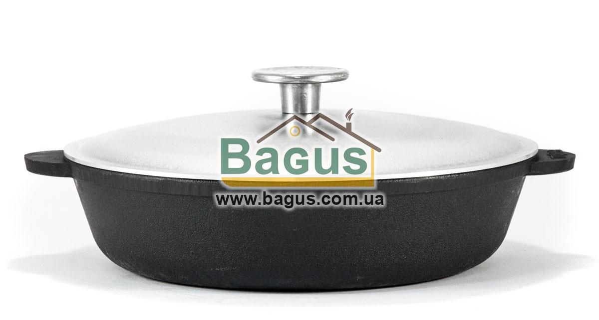 Жаровня чавунна 24х6см з литими ручками і алюмінієвою кришкою, посуд чавунна Brizoll (Україна) М2460-В-1