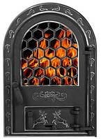 Дверцы печные со стеклом Олени хром БОЛЬШИЕ 595Х425. Дверцы для камина печи барбекю, фото 1