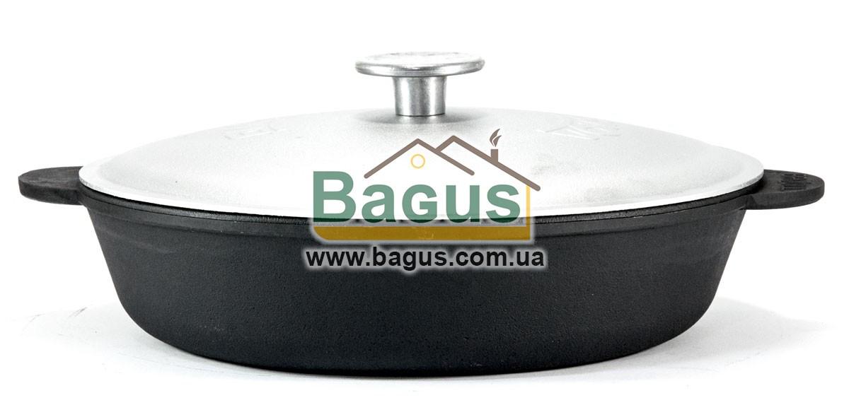 Жаровня чугунная 26х6,5см с литыми ручками и алюминиевой крышкой, посуда чугунная Brizoll (Украина) M2660U-1