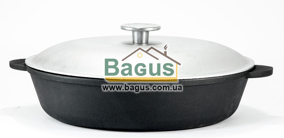 Жаровня чавунна 28х7см з литими ручками і алюмінієвою кришкою , посуд чавунна Brizoll (Україна) M2860U-1