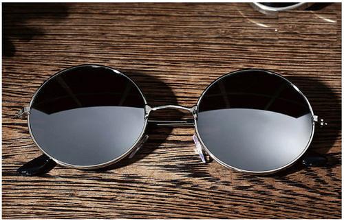 Очки круглые в ретро стиле серебро зеркальные