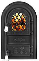 """Дверцы печные со стеклом """"Олени черные"""". Дверцы для кухни, барбекю, фото 1"""