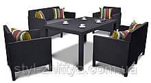 Обідній набір меблів ORLANDO FIESTA: 2 софи, 2 крісла графіт