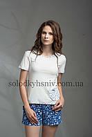 Жіноча Піжама ELLEN шорти+футболка Синьо-Білі Квіти 054/001