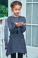 Модное платье-туника для девочки подросток темно-серое в горошек 140см