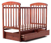 Детская кроватка Наталка, с маятниковым механизмом и ящиком, темная