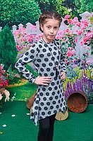 Модное платье-туника для девочки подросток серая в горошек 134, 140, 146, 152см
