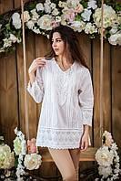 Женская летняя туника белого цвета из натуральной ткани