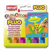 "Гуашь ( Témpera Sólida Escolar ) INSTANT PlayColor ""One"" Fluo 6цв."