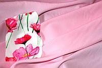 Ткань креп Летняя не стрейч, нежный розовый, легкое свечение