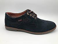 Туфли мужские замшевые перфорация  на шнурках, замшевая обувь мужская от производителя модель Г20П