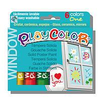 """Детские смываемые витражные краски по стеклу и керамике ( Témpera Sólida ) INSTANT PlayColor """"One"""" Window"""