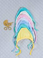 Шапочка чепчик на завязочках для младенца из интерлока. Разные цвета