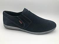 Туфли мужские замшевые перфорация  на резинке, замшевая обувь мужская от производителя модель Г21